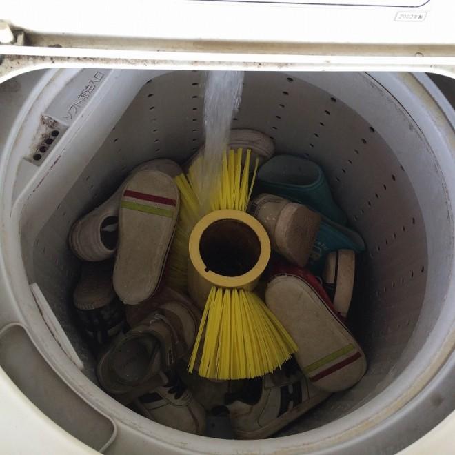 cleaning コインランドリーで子供用シューズの洗濯 %tag